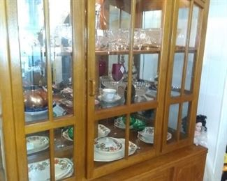 Wood China Cabinet with working lighting