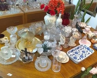 Crystal, Glassware, Milk Glass as well as Salt Shakers, Coffee Mugs, Decorate Figurines