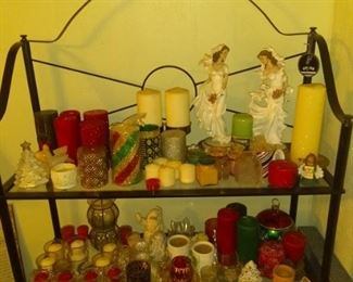 Decorative candles in great shape plus nice shelf!!