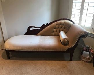 Beautiful Mahogany Chaise with elegant wooden details and tufted crushed velvet.  Excellent condition.  $400