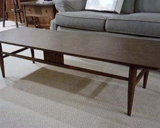 Vintage mid-century modern pair of Bassett walnut side tables & coffee table
