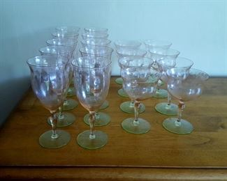 Pink and Green Depression Glass - Watermelon Glass Stemware -Wine Glasses & Stem Goblets