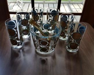 Mid century Glasses (Set of 6) & Ice Bucket
