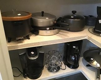 Assorted small appliances.