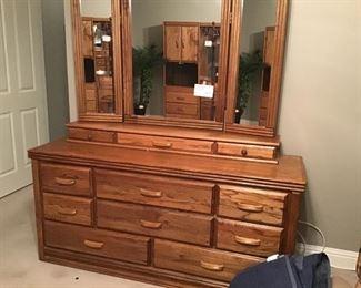 Oak cedar lined dresser with mirror.