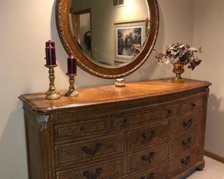 Matching dresser and round mirror