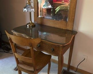 Antique make-up table with glass top and chair