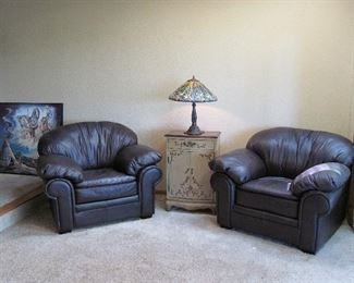 2 Plush Expresso Leather Chairs Still Available!