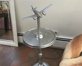 Retro DC7 Airplane table with light in cockpit
