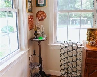 Antique Plantstand, Collection of Vintage Oil Lamps, Wrought Iron Wine Rack