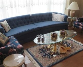 Blue Couch, Pair of Wing Back Chairs, Glass & Brass Coffee  & End Table,