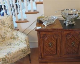 Small Upholstered Chair, Server, Punch Bowl & Cups, Brass Candlesticks