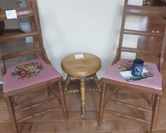 Pair of Needlepoint Side Chairs, Piano Stool