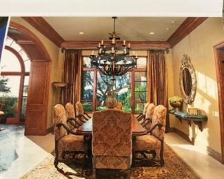 Gorgeous Kern And Co Dining Room table and Chairs, Rugs, Standing Lamp, Drapery, Mirrors