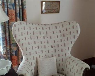 Upholstered Wing Back Chair