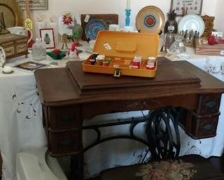Antique Sewing Machine with Needlepoint Bench (has been modified for a newer Sewing Machine, included)