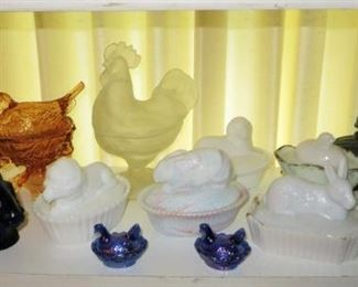 Antique & vintage hen on nest collection (also includes other animals on nests), 1800's cobalt rabbit