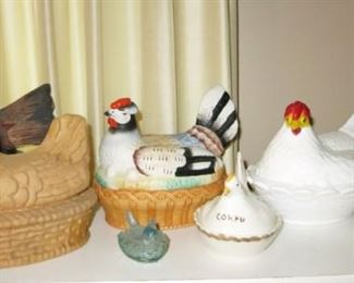 Includes 1919 paper mache hen, Antique & vintage hen on nest collection (also includes other animals on nests)