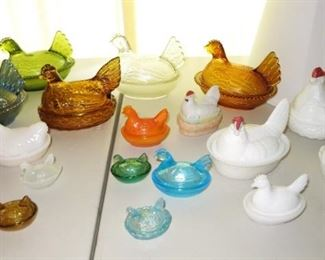 Antique & vintage hen on nest collection (also includes other animals on nests)