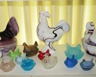 Antique & vintage hen on nest collection (also includes other animals on nests), includes purple slag glass