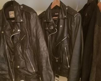couple of Harley Davidson leather jackets