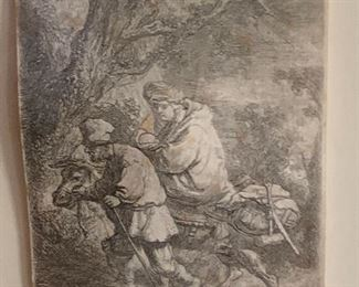 """THE  ETCHING IN INSET OF REMBRANDT ETCHING 1633 """"FLIGHT INTO EGYPT"""""""