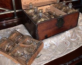 LARGE AND COMPLETE ANTIQUE TRAVELING FRENCH TANTALUS-PROBABLY MILITARY
