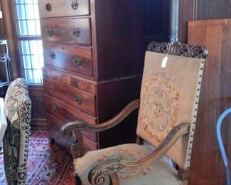 CARVED ARMCHAIR WITH NEEDLEPOINT