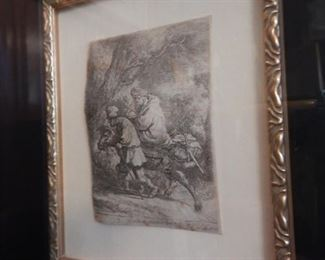 """INSET OF REMBRANDT ETCHING 1633 """"FLIGHT INTO EGYPT"""""""