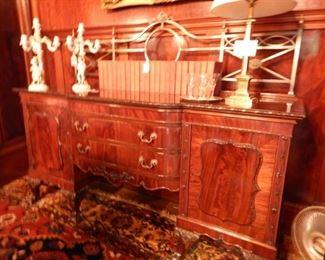SIDEBOARD WITH BRASS RAIL BACK