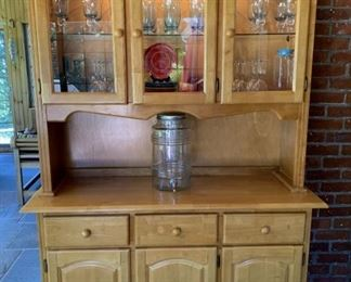 Lighted Maple Cabinet/Hutch - Top comes off to transport