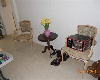 Inlaid Table, 2 Side Chairs,
