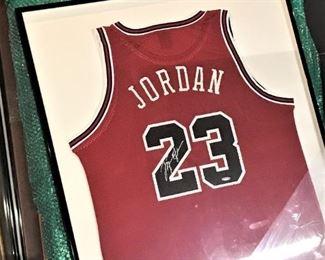 3 Signed Michael Jordan Framed Jerseys