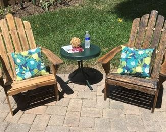Adirondack chairs, vintage table
