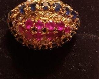 14k ruby sapphire ring