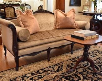Beautiful antique mahogany sofa recently upholstered in a velvet-like damask