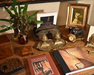 Antique desk accessories and more - Art Nouveau letter holder, brass letter holder, brass inkwell. Also an antique tea caddy and N.O. books