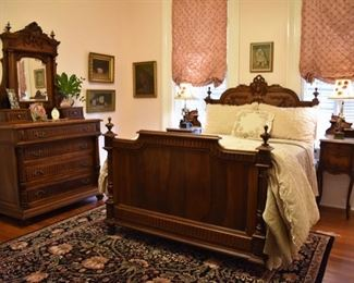 Henry II walnut full size bed (bedding included) and French walnut dresser with rouge marble top
