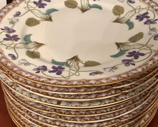 Set of 12 Limoges hand-painted dinner plates