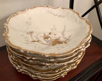 Set of 8 Limoges hand-painted luncheon plates