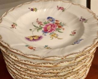 Set of 12 Dresden porcelain soup bowls