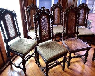 Set of six barley twist side chairs