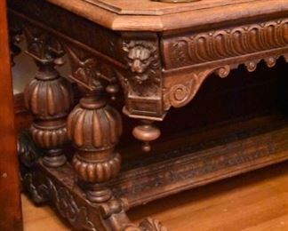 Very handsome antique French carved oak library table with large single drawer