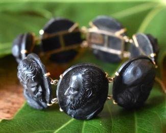Incredible fine antique Victorian 14K intaglio gutta percha bracelet, each of an old master artist