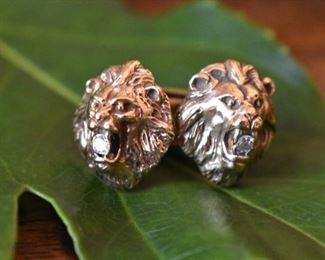14K and diamond lions head cufflinks