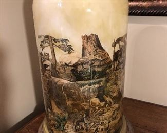 """Impressive antique lamp made from an old dome or cloche with applied """"Western"""" scene. Interesting and unusual!"""