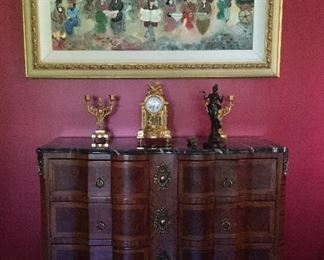 Zule Moskowitz Painting, French marble top chest,French gilt bronze clock and candlesticks