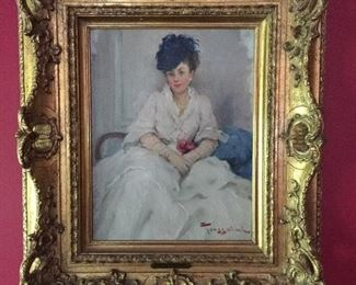 Oil on artist board ,portrait by Fernand Toussaint
