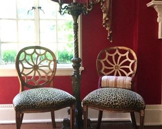 2 of 4 hand carved chairs and 1920's carved and painted floor lamp