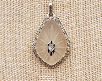 Antique 14k, camphor glass, and diamond filigree pendant